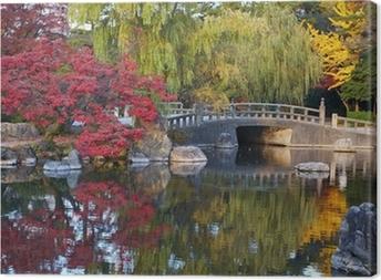 Sommer japansk landskab med dam og træer Fotolærred