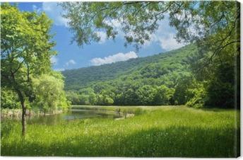 Sommerlandskab med flod og blå himmel Fotolærred