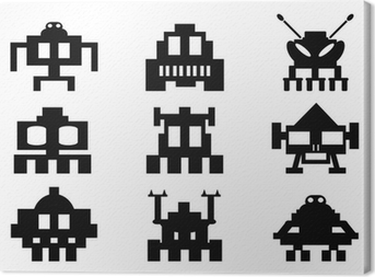 Space Invaders ikoner sæt - pixel monstre Fotolærred