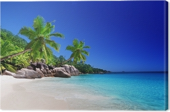 Strand på Praslin Island, Seychellerne Fotolærred