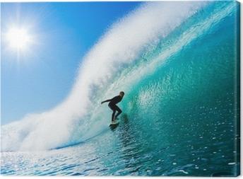 Surfer på Blue Ocean Wave Fotolærred