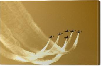 Synkroniseret teamflyvning i formationer Fotolærred