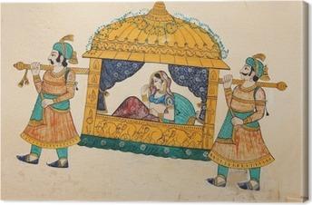 Traditionel gammel vægmaleri af indisk kvinde bliver taget Fotolærred