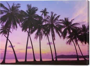 Tropisk solnedgang over havet med palmer, Thailand Fotolærred