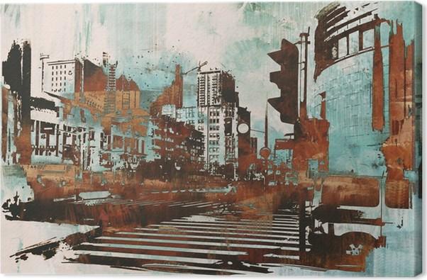 Urban bybillede med abstrakt grunge, illustration maleri Fotolærred - Hobby og Underhodning