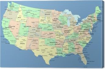 USA kort med navn på stater og byer Fotolærred