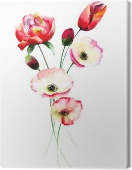 Valmue og Tulipaner blomster Fotolærred