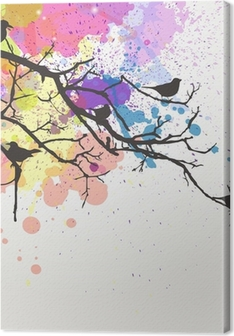 Vektor gren med fugle på en abstrakt baggrund Fotolærred