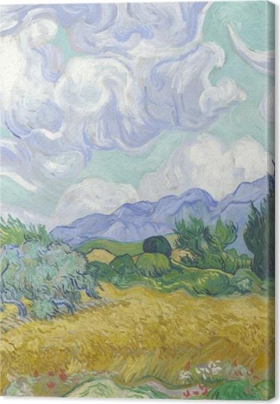 Vincent van Gogh - Grøn Wheatfield med Cypress Fotolærred - Reproductions