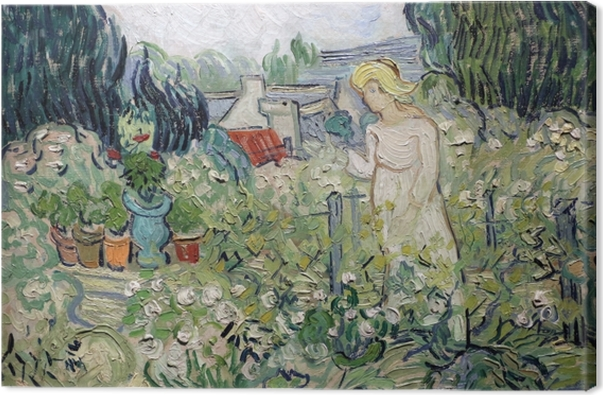 Vincent van Gogh - Mademoiselle Gachet i sin have ved Auvers Fotolærred - Reproductions
