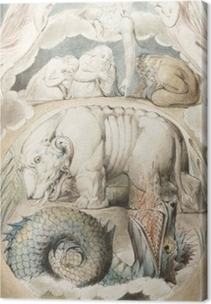 William Blake - Behemoth og Lewiathan Fotolærred