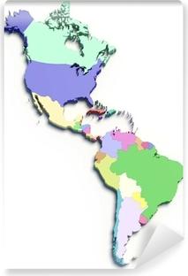 Fotomural Estándar 3d mapa de color del Sur y los países de Norteamérica