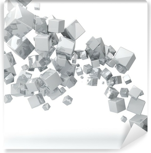 Fotomural Estándar Abstract 3D brillante cubos de fondo blanco.
