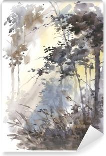 Fotomural Estándar Acuarela pintada a mano del paisaje del extracto, bosque profundo, de tres en tres en el sol.