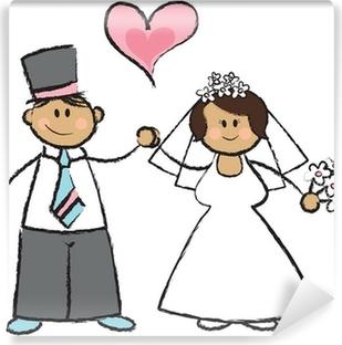 Póster Apenas Casado Ilustración De Dibujos Animados De Una