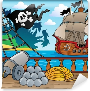 Fotomural Autoadhesivo Barco pirata baraja tema 4