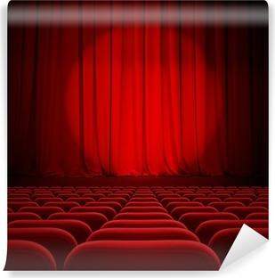fotomural autoadhesivo cine cortinas rojas con centro de atencin y asientos - Cortinas Rojas