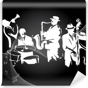 Fotomural Autoadhesivo Concierto de jazz de fondo negro