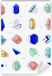 Fotomural Autoadhesivo Conjunto de los objetos espaciales cristales con formas geométricas
