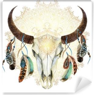 Fotomural Autoadhesivo Cráneo de la vaca de la acuarela con las plumas