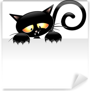 Fotomural Autoadhesivo Dibujos animados del gato negro con el Grupo de Gatto nero estafa Pannello