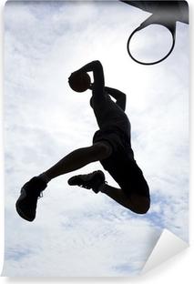 Fotomural Autoadhesivo El jugador de baloncesto de la clavada silueta