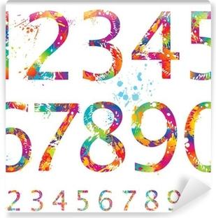 Fotomural Autoadhesivo Font - números coloridos con gotas y salpicaduras de 0 a 9