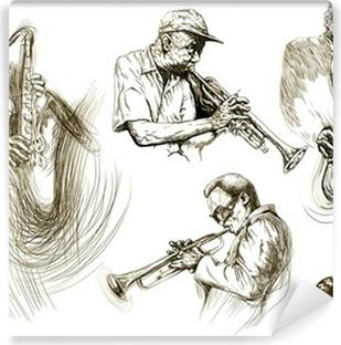 Fotomural Autoadhesivo Hombres jazz (recolección manual de dibujo de bocetos)