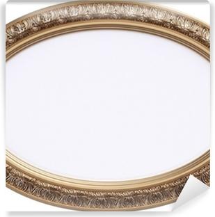 Fotomural Autoadhesivo Marco oval dorado o espejo aislado en blanco
