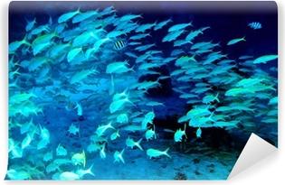 Fotomural Autoadhesivo Peces de coral en agua azul.