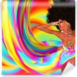 Fotomural Autoadhesivo Peinado afro, muchacha atractiva, la Disco