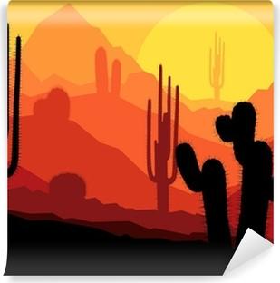 Fotomural Autoadhesivo Plantas de cactus en México vector desierto puesta de sol