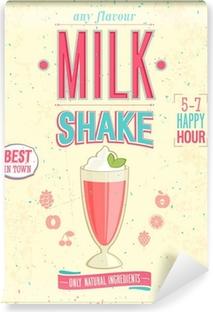 Fotomural Autoadhesivo Poster MilkShake Vintage. Ilustración del vector.