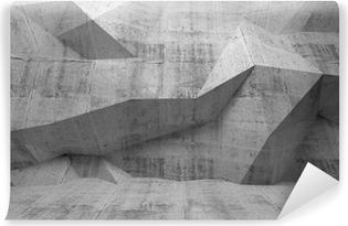 Fotomural Autoadhesivo Resumen oscuro 3d interior de hormigón con diseño poligonal en el