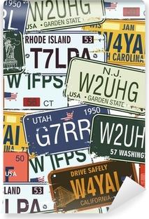 Fotomural Autoadhesivo Seamless Background - Retro placas de licencia Auto