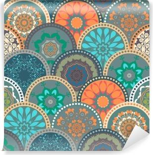 Fotomural Autoadhesivo Sin fisuras marco modelo abstracto de los círculos azulejo de la flor de flores de colores de moda. Para el papel pintado, la superficie texturas, textil. Diseño verano-otoño. India, estilo étnico Islam. Verde, naranja, azul. vector