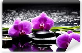 Fotomural Autoadhesivo Spa bodegón con juego de color rosa orquídea y piedras reflexión