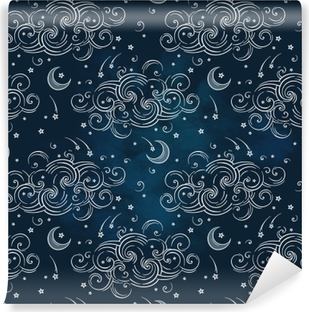 Fotomural Autoadhesivo Vector de patrones sin fisuras con cuerpos celestes - lunas, estrellas y nubes. boho chic print dibujado a mano diseño textil