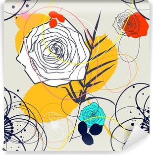 Fotomural Autoadhesivo Vector retro seamless floral