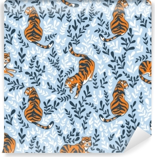Fotomural Autoadhesivo Vector sin patrón con tigres aislados en el fondo floral. Fondo animal para tela o papel tapiz de diseño boho.