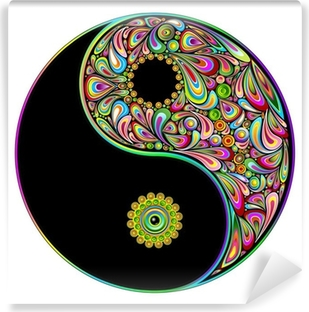 Fotomural Autoadhesivo Yin Yang Symbol Psychedelic Art Design-Simbolo psichedelico