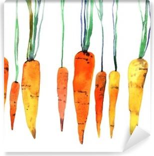 Fotomural Autoadhesivo Zanahoria pintado a mano de acuarela