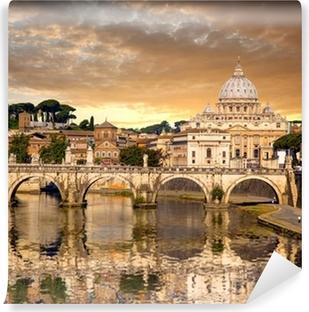 Fotomural Estándar Basílica de San Pedro con el puente en el Vaticano, Roma, Italia