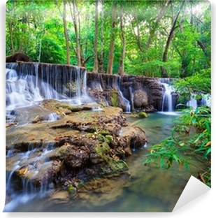Fotomural Estándar Bosque Cascada profunda en Kanchanaburi, Tailandia