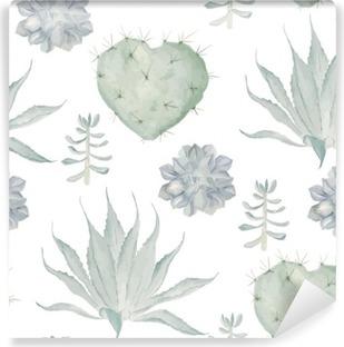 Fotomural Estándar Cactus de impresión de la acuarela. patrón sin fisuras