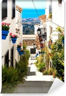 Fotomural Estándar Calle hermosa con las flores en la localidad de Mijas, España