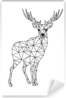 Fotomural Estándar Carácter poli baja de ciervos. Diseños para Navidad. Ilustración de Navidad en el estilo de la línea de arte. Aislado en el fondo blanco.