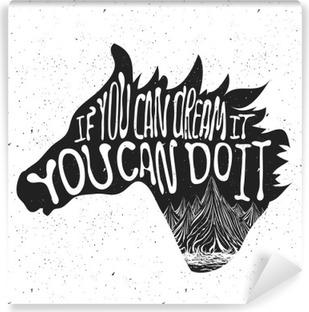 Fotomural Estándar Cartel de la tipografía con la silueta de la cabeza de caballo y montañas