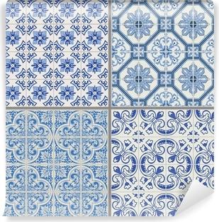 Fotomural Estándar Colección Seamless Background Vintage - Azulejos victoriana en vecto