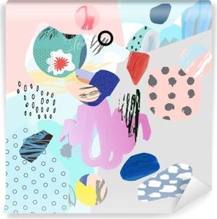Fotomural Estándar Collage creativo de moda con diferentes texturas y formas. diseño gráfico moderno. obras de arte originales. Vector. Aislado